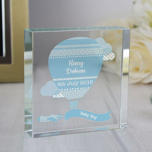 Personalised Up & Away Boys Large Crystal Token